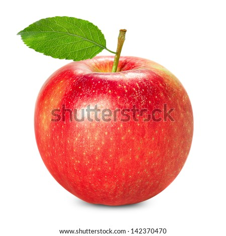 Red apple with leaf isolated on white background - stock photo