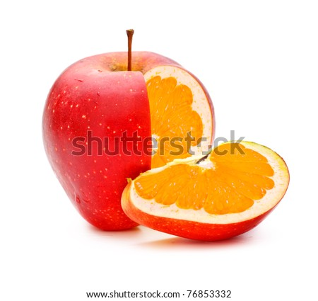 red apple with orange fillings, genetically modified organism - stock photo