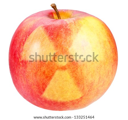 Red apple with sign of nuclear danger. Art design. Isolated on white background. - stock photo