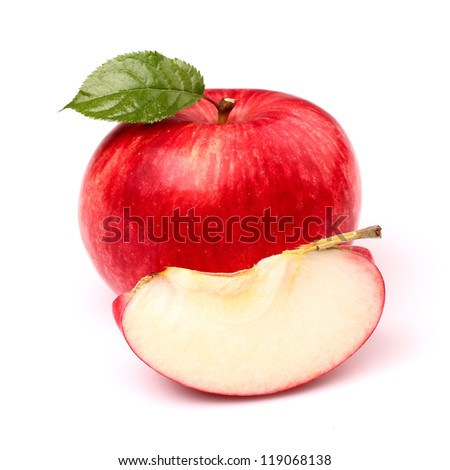 Red apple with slice - stock photo