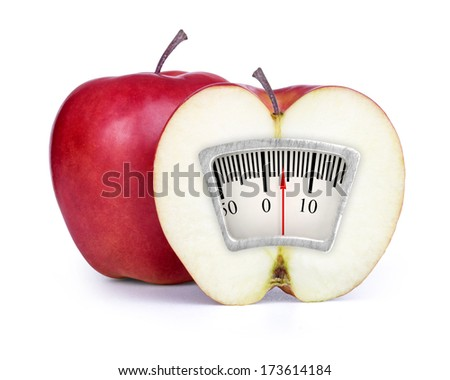 Red apple with slice isolated on white - stock photo