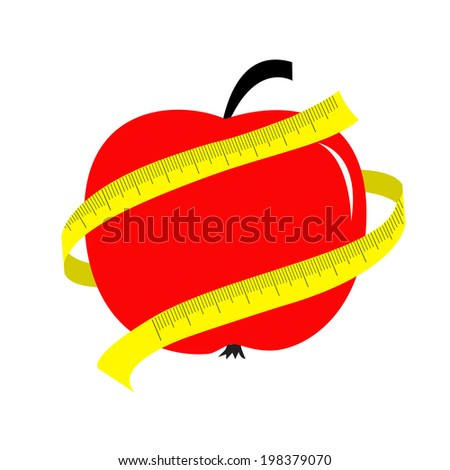Red apple with yellow measuring tape ruler. Diet concept card.  - stock photo