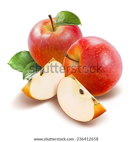 Red apples and quarters top view isolated on white background as package design element - stock photo