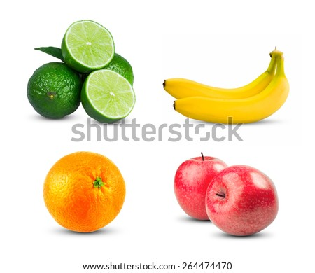 Red Apples fresh diet fruit with vitamins, Fresh orange fruit, Two yellow bananas and Fresh limes sliced isolated on white background - stock photo