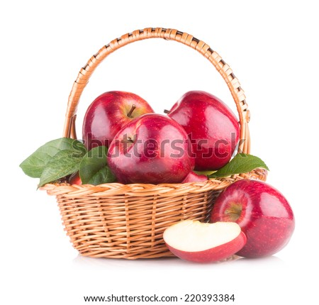 red apples in a basket - stock photo