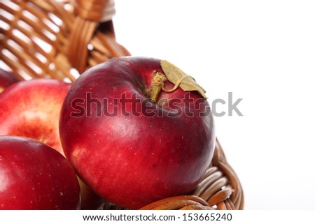 Red apples in the basket/Natural organic apples for a healthy diet