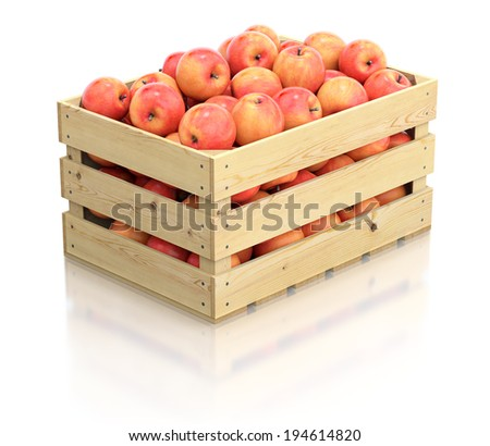 Red apples in the wooden crate - stock photo