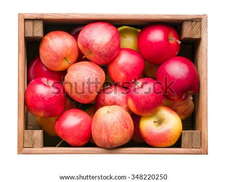 red apples in wooden box on white background - stock photo