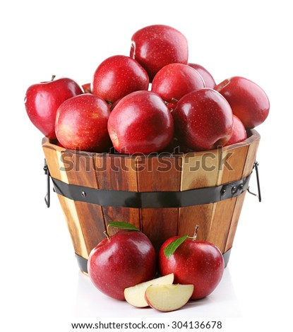 Red apples isolate on white - stock photo