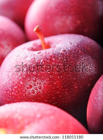 Red apples macro - stock photo