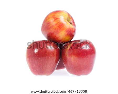 red apples  on a white background.
