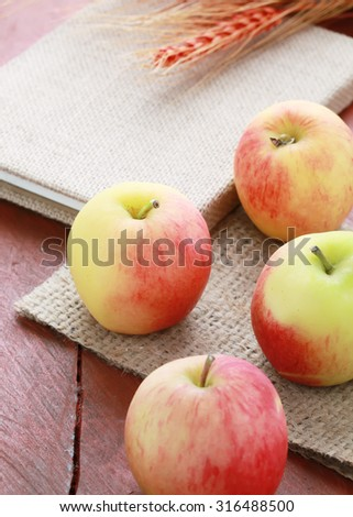 Red apples on wooden .Fresh apples.