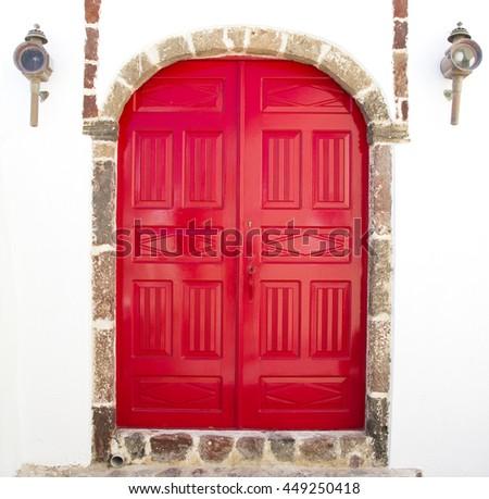 Red arc door - stock photo