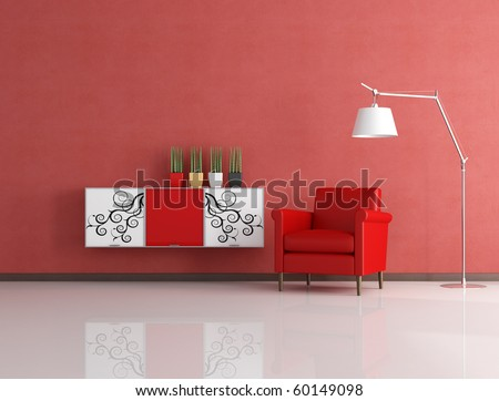 red armchair and decorated cabinet in front a stucco wall - rendering - stock photo