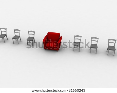 Red armchair between many simple chairs