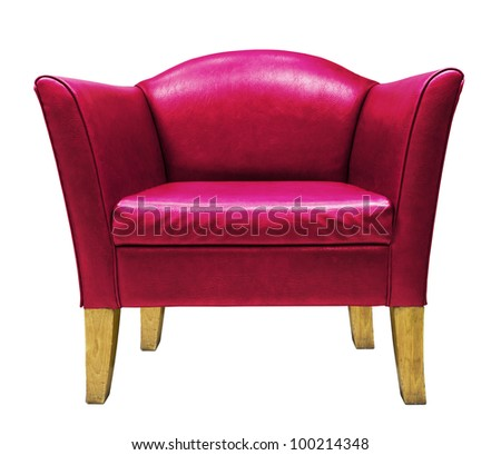 Red armchair isolated on white background - stock photo