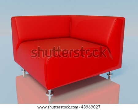 red armchair on reflection floor