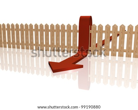 Red arrow and fence on white reflective background.