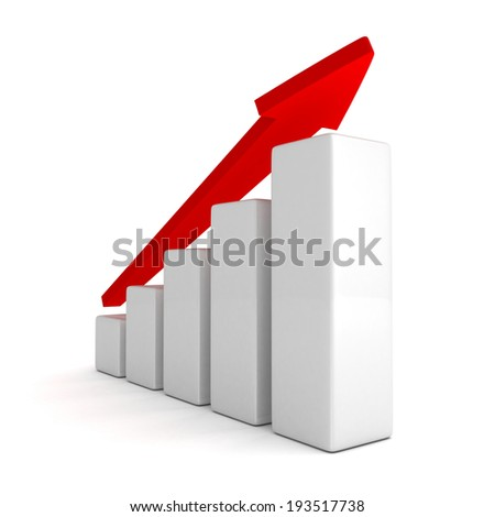 red arrow and success bar graph growing up. 3d render illustration - stock photo