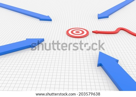 red arrow blues comes quickly to the goal - stock photo