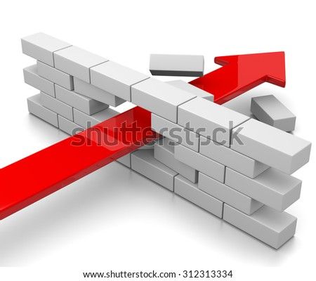 Red Arrow Break Through the Wall on White Background 3D Illustration - stock photo