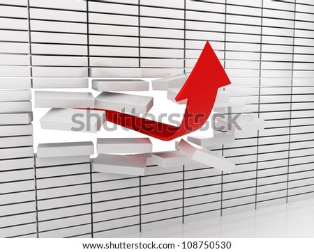 Red arrow breaking through a white brick wall. - stock photo