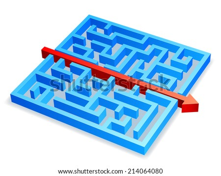 Red arrow breaking through blue maze. - stock photo