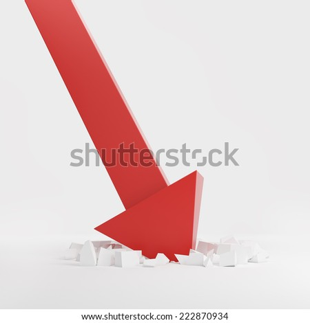 Red arrow crash concept.  - stock photo