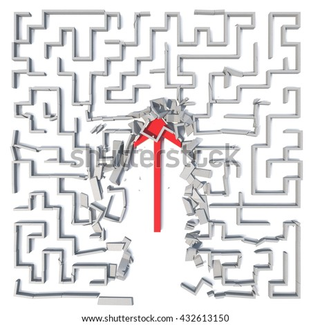 Red arrow cutting through maze. 3D illustration - stock photo
