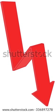 red arrow goes down - stock photo