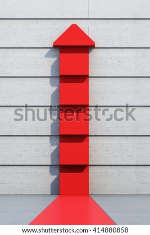 red arrow going upward, 3d rendering - stock photo