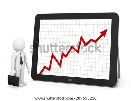 red arrow graph chart on tablet - stock photo