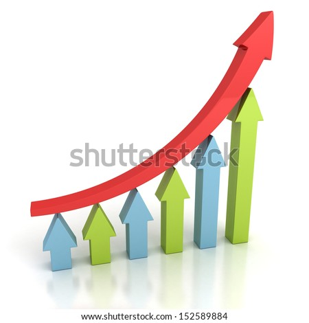 red arrow leader growing up on bar chart team - stock photo