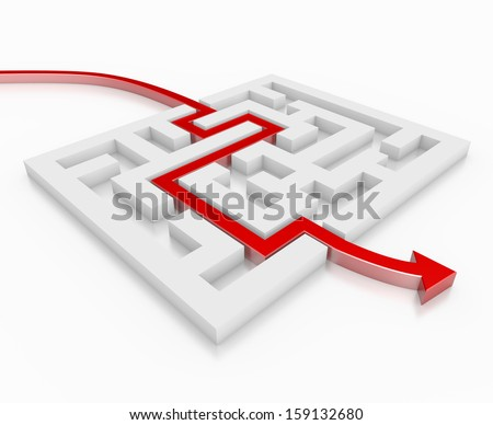 red arrow leads through a maze - stock photo