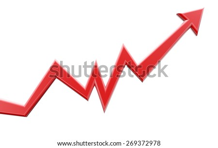 Red arrow moving up. Graph chart. Business and finance concept of progress process and success - stock photo