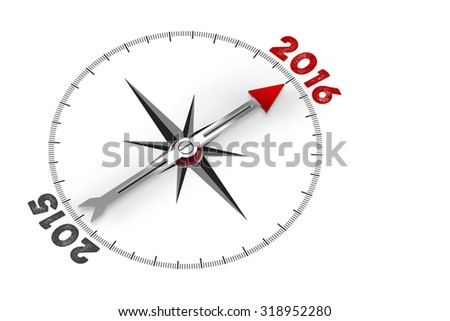 Red arrow of a compass pointing to year 2016 (3D Rendering) - stock photo