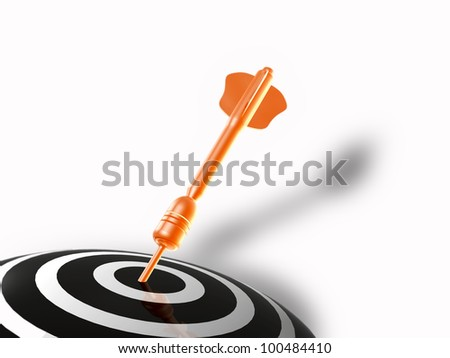 Red arrow on the target, white background.