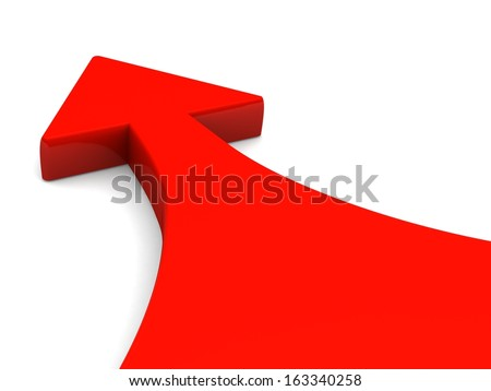 Red arrow on white background - stock photo