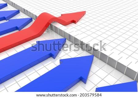 red arrow passes hurdle  - stock photo