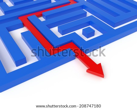 Red arrow path across blue labyrinth. Success concept  - stock photo