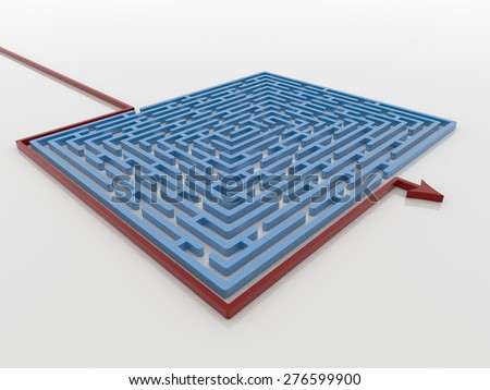 Red Arrow Path Around Blue Maze Labyrinth 3D Render, Solution Concept - stock photo