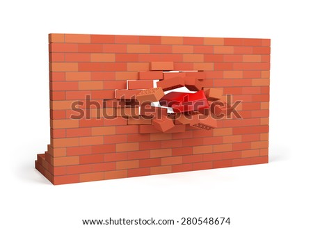 Red arrow pierces the wall. 3d image. White background.