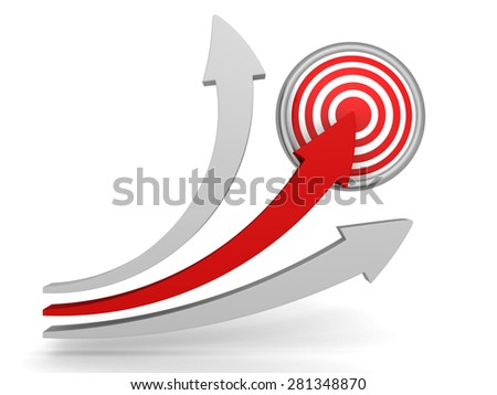 Red Arrow Pointing To Center Of Target. Success Winning Concept 3d Render Illustration - stock photo