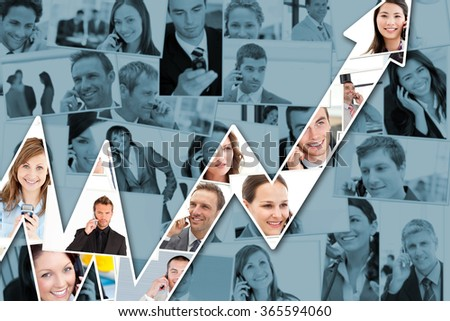 Red arrow pointing up against collage of business people having phone conversation - stock photo