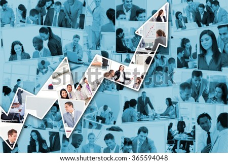 Red arrow pointing up against collage of businessmen in meetings - stock photo