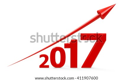 Red arrow up represents the growth in 2017 year, three-dimensional rendering, 3D illustration - stock photo