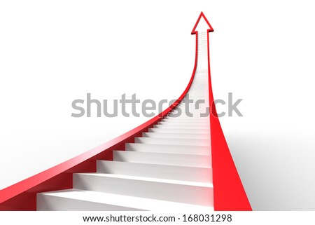 Red arrow with steps graphic