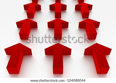 Red arrows in 3D marking the same direction - stock photo