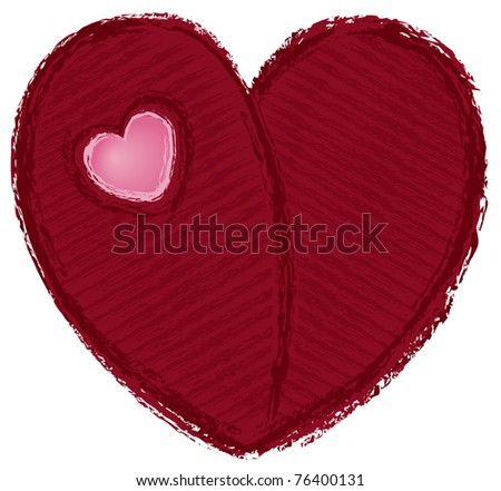 Red Art Heart - Raster Version - stock photo