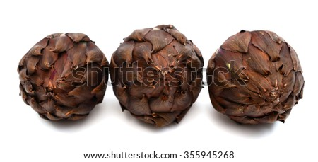 red artichokes on white background
